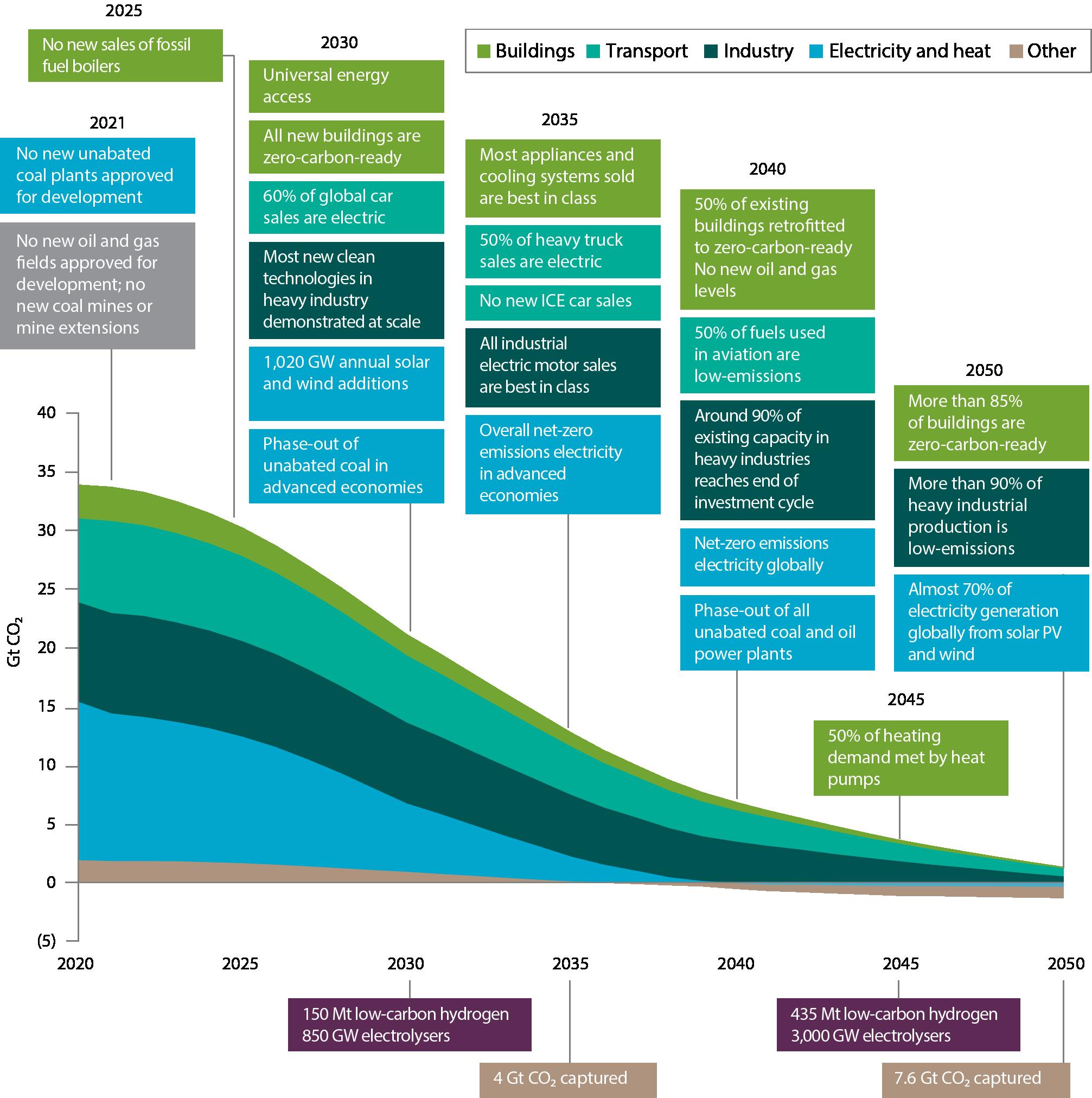 Key milestones in the pathway to net zero
